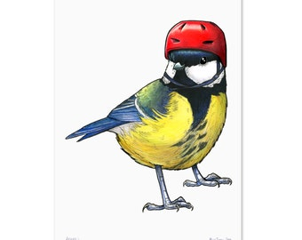 Great Tit in a Cycling Helmet - A4 Print