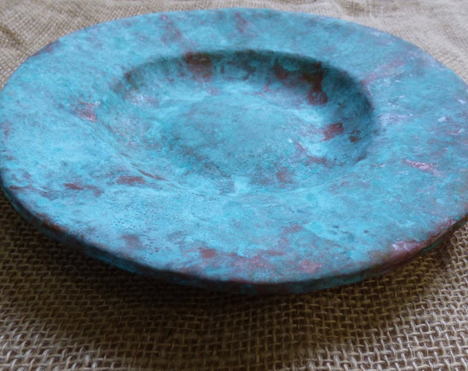 Featured listing image: Uniquely Shaped 8 inch Light Blue Patina Copper Bowl - Copper Plate - Copper Bowl - Hand Hammered Copper Bowl - Hammered Copper Tray