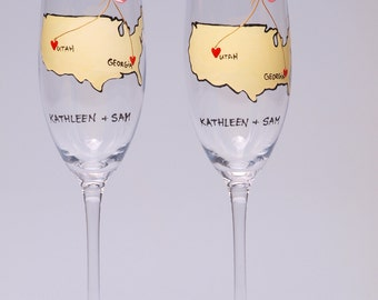 United States Wedding Toasting Flutes Set of 2 Personalized Champagne glasses Love from different places