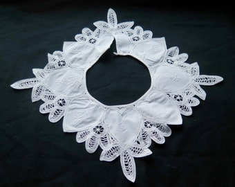 French Antique White Collar- Lace and Embroideries. Vintage France.Handmade.