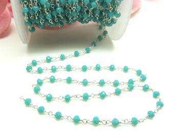 20 cm silver plated Rosary chain and faceted Amazonite gemstone