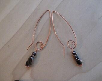 Hematite Earrings, Copper Earrings,  Celtic Spiral Earrings, Wire Wrapped earrings