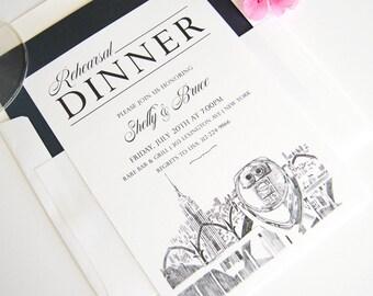 New York Empire State Building Skyline Rehearsal Dinner Invitations (set of 25 cards)