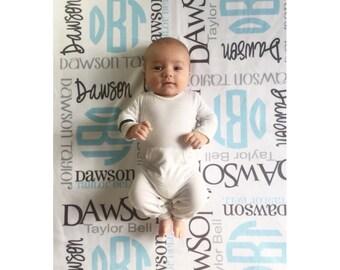 Baby Blanket Personalized Monogram Baby Blanket Swaddle Receiving Blanket Baby Shower Gift