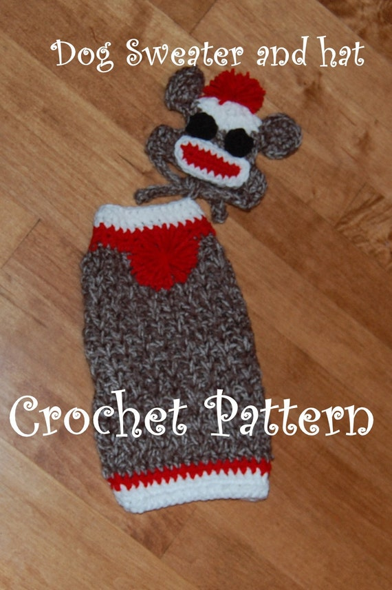 Instant Download Crochet Pattern - Sock Monkey Dog Sweater and Hat ...