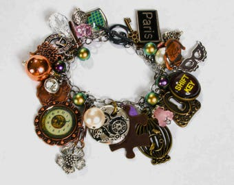 Steampunk; Steampunk Bracelet; Steampunk Jewelry; Charm Bracelet; Vintage Style; Swarovski Bracelet; Chunky Bracelet