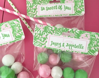 """Lilly Pulitzer Inspired Treat Bag Toppers """"Sunnyside""""--Customizable Digital File for Valentine's Day, Birthdays, Showers, Favors"""