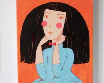 orange portrait  canvas print , home decor, wall decor, wall art, nursery design