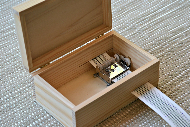 DIY Music Box. Wood Box with locker. Hand cranked Musical