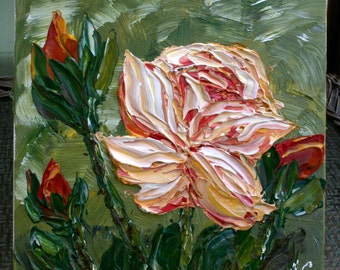 Original  Impasto Rose  Flower  Palette Knife Technique  Small Acrylic Painting.Free Shipping