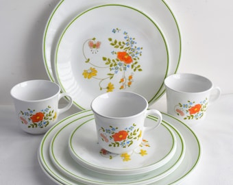 Set of 12 Corelle pieces \ Wildflower\  Dinnerware by Corning/ 3 Place settings Dinnerware & Corelle | Etsy