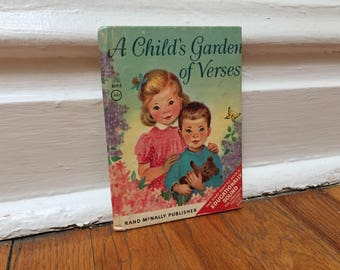 A Child's Garden of Verses Small Book Children's Book Vintage Distressed Hardcover