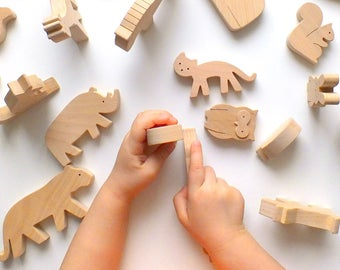 Organic wooden toy, World Wild Animal Learning Toys, Educational toys for toddlers, Waldorf toys, Montessori toys, Stacking toy,Toddler gift