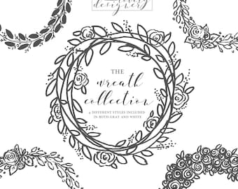 Digital Floral Wreath Clip Art | Hand Drawn | Gray + White | Instant Download
