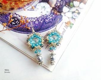 Beaded earrings, silver and blue earrings, embroidered seed beads earrings, beadwork jewelry, handmade glass beadwoven earrings