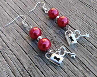 Red Glass Pearl and Lock & Key Drop Earrings