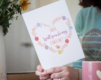 Personalised Floral Will You Be My Flower Girl Wedding Greetings Card, Floral Wedding Cards, Flower Girl Wedding Cards, Be My Flower Girl