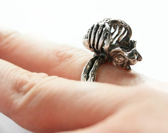 Sterling Silver Full Rib Cage Ring, Biker Chick Ring, Rocker Ring, Goth Jewelry, Alternative Jewelry