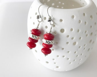 Valentine's Day Gift, Red Dangle Earrings, Sterling Silver Heart Earrings, Under 25, Galentine Gift for Girlfriend Women