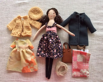 Dress up doll, Handmade cloth doll, gift idea, doll with clothes,doll set, doll with toy dog doll, dolls to dress, rag bear