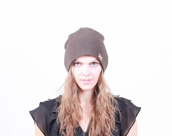 Brown beanie for women, crochet women slouchy beanie, slouchy hat for women, brown Spring hat, unisex beanie, women beanie, crochet beanie