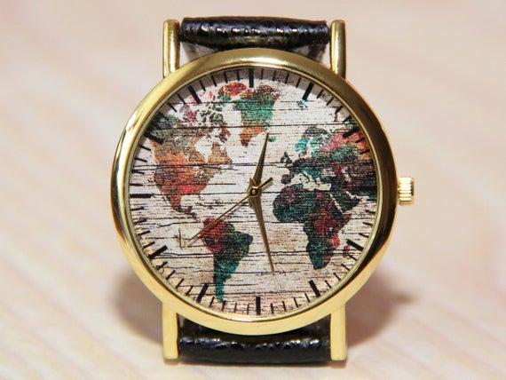 wristwatch world map wrist watch globe watch earth travel watch mens watch female watch unique watch watch hand made color map