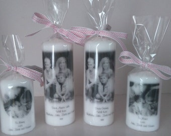 Black and White Personalised Photo Pillar Candle, Wedding, Birthday, Memorial, Mothers Day, Anniversary etc