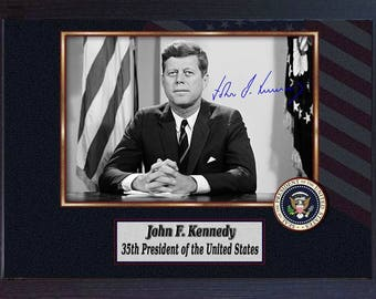 John F Kennedy 35th President of the United States signed autograph Framed