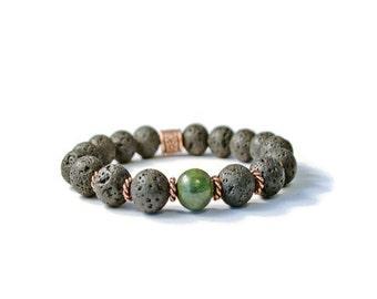 Aromatherapy Essential Oil Diffuser Bracelet, Natural Lava Stones & Green Gemstone