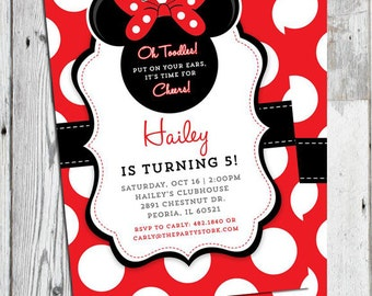 minnie mouse invitation red printable minnie mouse birthday party invitation minnie mouse invite 1st 2nd 3rd birthday invitation girl