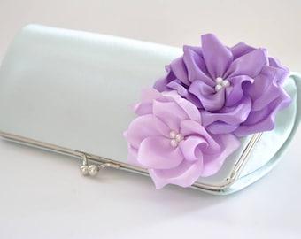 Hint of Mint and Shades of Lavender - Bridesmaid Clutch / Bridal clutch/ Wedding clutch / Custom clutch