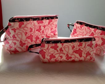Pink ribbon three bag set, Travel organizer bags, Breast cancer awareness bags, cancer support bags, butterfly fabric bags