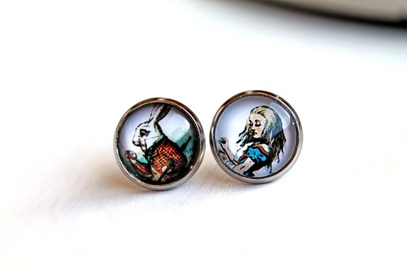 Alice in Wonderland and white rabbit stud post earrings sweet lolita feminine