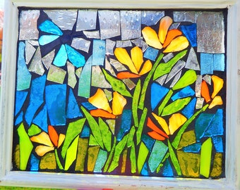 Stained Glass Flower Garden with Dragonfly Mosaic - Sun catcher- Window hanging
