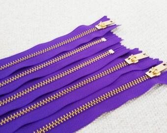10inch - Violet Metal Zipper - Gold Teeth - 5pcs