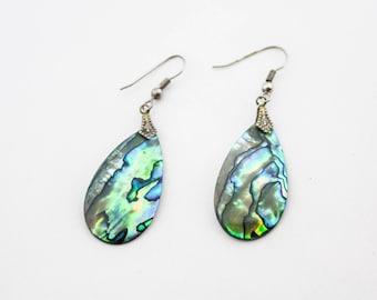 Vintage Paua Shell Silver Tone Drop Dangle Earrings