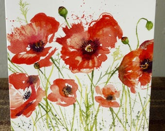 Dancing Poppies - A beautiful Greetings cards from a watercolour by Pauline Merritt
