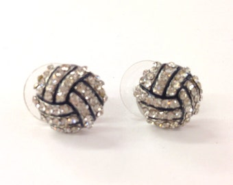 Rhinestone volleyball stud earrings  / gift for sports mom / spots team / gift for her/volleyball mom /fashion earring