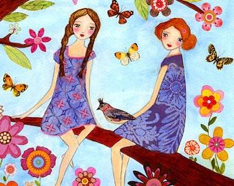 Summertime Sisters Nursery art - Nursery decor - Kids room decor - Children's art - Children's wall art - Kids wall art