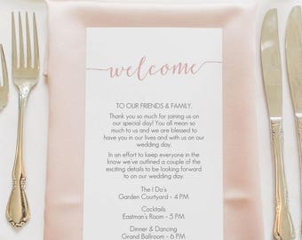Blush Pink Welcome Card Printable - Pink Welcome Bag card - Instant Download - Editable PDF - Blush Wedding Timeline - 4x9 inches - #GD1109
