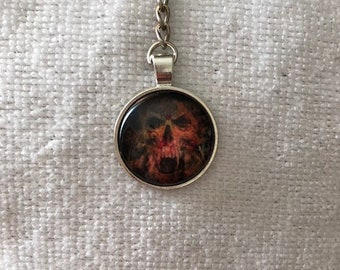 Inspired Red Skull Keychain