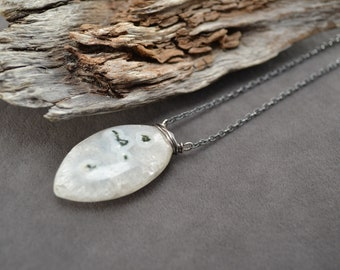 Quartz Necklace, White Quartz Long Necklace, Oxidized Quartz Necklace, Sterling Silver Necklace, Long Silver Necklace