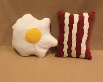 Super Plush Set of Two Bacon and Egg Food Pillows