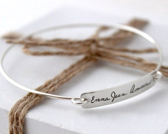 Personalized Handwriting Bracelet, Custom Writing Bangle Bracelet Sterling Silver, Memorial Writing Bangle - Original Plate Bangle