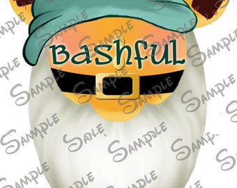 DIGITAL DIY printable Bashful the Dwarf from Snow White Character Mickey head file can be Personalized for you!