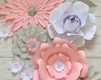 Pink and grey paper flowers