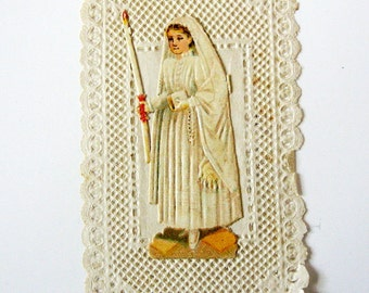 Antique Communion French Paper Lace Holy Card. Relief Dente.