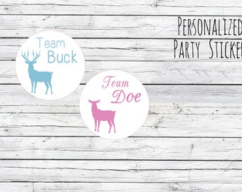 DIY Gender Reveal Stickers Team Doe or Buck Team Boy, Team Girl, Baby Shower Voting, Favor Tags, Labels, You Choose Size