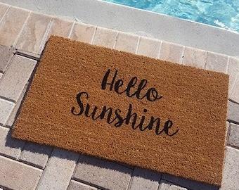Hello Sunshine Doormat   Summer Doormat   Summer Decor   Welcome Mat   Hello Beautiful   Porch Decor   Greetings