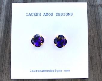 Violet Jewel Post Earrings - small